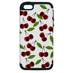 Cherry Pattern Apple Iphone 5 Hardshell Case (pc+silicone) by Valentinaart