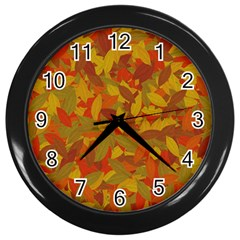 Orange Autumn Wall Clocks (black) by Valentinaart