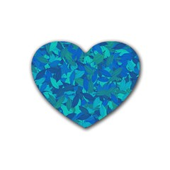 Blue Autumn Heart Coaster (4 Pack)  by Valentinaart
