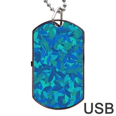 Blue Autumn Dog Tag Usb Flash (two Sides) by Valentinaart