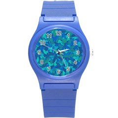 Blue Autumn Round Plastic Sport Watch (s) by Valentinaart