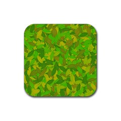 Green Autumn Rubber Coaster (square)  by Valentinaart