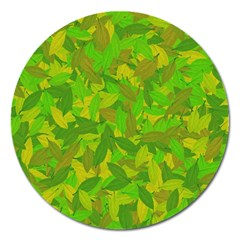 Green Autumn Magnet 5  (round) by Valentinaart
