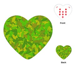 Green Autumn Playing Cards (heart)  by Valentinaart