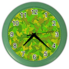Green Autumn Color Wall Clocks by Valentinaart