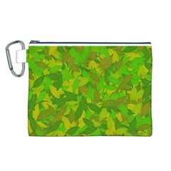 Green Autumn Canvas Cosmetic Bag (l) by Valentinaart