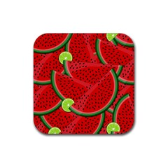 Watermelon Slices Rubber Square Coaster (4 Pack)  by Valentinaart