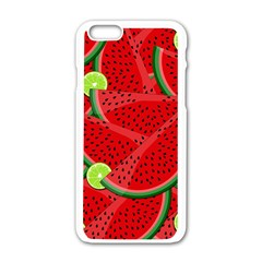 Watermelon Slices Apple Iphone 6/6s White Enamel Case by Valentinaart