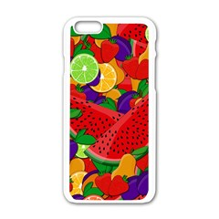 Summer Fruits Apple Iphone 6/6s White Enamel Case by Valentinaart