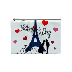 Valentine s Day   Paris Cosmetic Bag (medium)  by Valentinaart