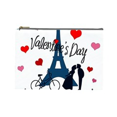 Valentine s Day   Paris Cosmetic Bag (large)  by Valentinaart