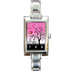 Love Sunrise Rectangle Italian Charm Watch by Valentinaart
