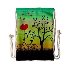 Love Sunrise Drawstring Bag (small) by Valentinaart