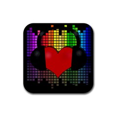 Love Music Rubber Square Coaster (4 Pack)  by Valentinaart