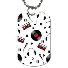Music Pattern Dog Tag (two Sides) by Valentinaart