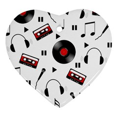 Music Pattern Heart Ornament (two Sides) by Valentinaart
