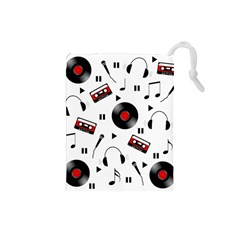 Music Pattern Drawstring Pouches (small)  by Valentinaart