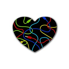 Audio Cables  Rubber Coaster (heart)  by Valentinaart