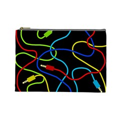Audio Cables  Cosmetic Bag (large)  by Valentinaart