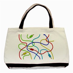 Colorful Audio Cables Basic Tote Bag by Valentinaart