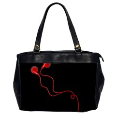 Earphones  Office Handbags (2 Sides)  by Valentinaart