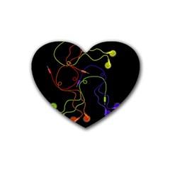 Colorful Earphones Rubber Coaster (heart)  by Valentinaart