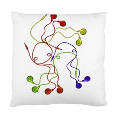 Colorful Earphones  Standard Cushion Case (two Sides) by Valentinaart