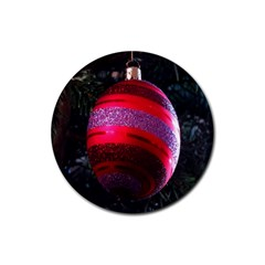 Glass Ball Decorated Beautiful Red Rubber Round Coaster (4 Pack)