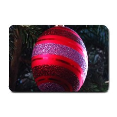 Glass Ball Decorated Beautiful Red Small Doormat  by Nexatart