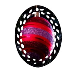 Glass Ball Decorated Beautiful Red Ornament (oval Filigree)