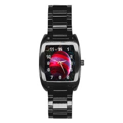Glass Ball Decorated Beautiful Red Stainless Steel Barrel Watch