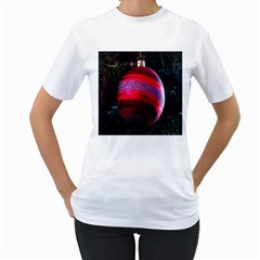 Glass Ball Decorated Beautiful Red Women s T Shirt (white)