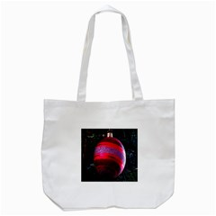 Glass Ball Decorated Beautiful Red Tote Bag (white)