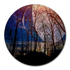 Full Moon Forest Night Darkness Round Mousepads by Nexatart