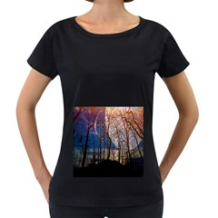 Full Moon Forest Night Darkness Women s Loose Fit T Shirt (black) by Nexatart