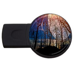 Full Moon Forest Night Darkness Usb Flash Drive Round (4 Gb)