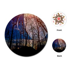 Full Moon Forest Night Darkness Playing Cards (round)