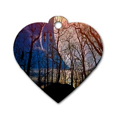 Full Moon Forest Night Darkness Dog Tag Heart (one Side) by Nexatart