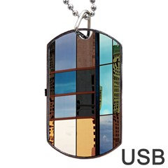 Glass Facade Colorful Architecture Dog Tag Usb Flash (one Side)