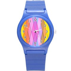 Graphics Colorful Color Wallpaper Round Plastic Sport Watch (s) by Nexatart