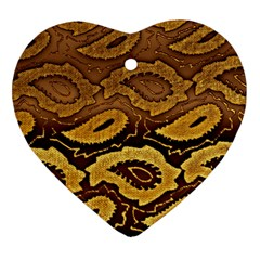Golden Patterned Paper Heart Ornament (two Sides)