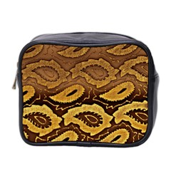 Golden Patterned Paper Mini Toiletries Bag 2 Side