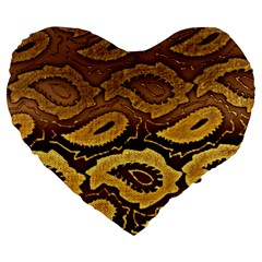 Golden Patterned Paper Large 19  Premium Heart Shape Cushions