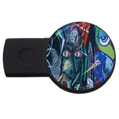 Graffiti Art Urban Design Paint Usb Flash Drive Round (2 Gb) by Nexatart