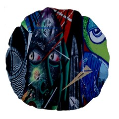 Graffiti Art Urban Design Paint Large 18  Premium Round Cushions