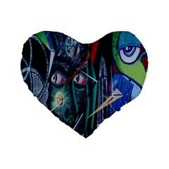 Graffiti Art Urban Design Paint Standard 16  Premium Flano Heart Shape Cushions by Nexatart