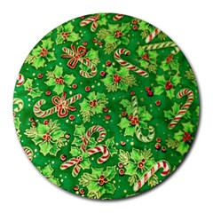 Green Holly Round Mousepads