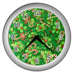 Green Holly Wall Clocks (silver)