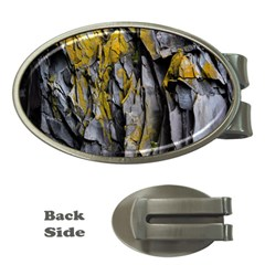 Grey Yellow Stone  Money Clips (oval)  by Nexatart