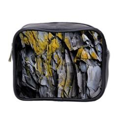 Grey Yellow Stone  Mini Toiletries Bag 2 Side